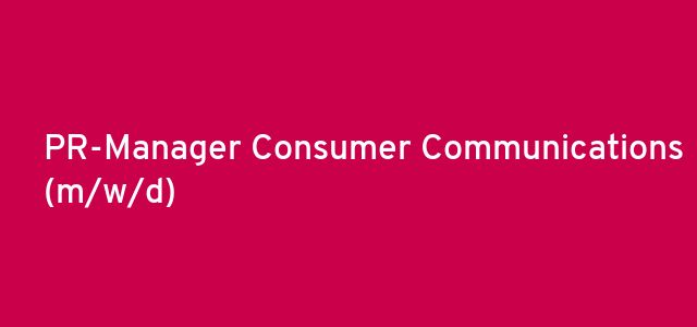 PR-Manager Consumer Communications (m/w/d)