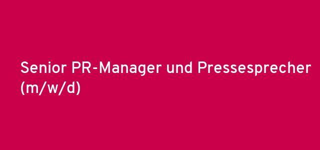 Senior PR-Manager und Pressesprecher (m/w/d)